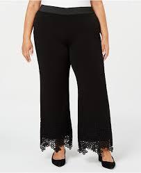 Plus Size Lace Hem Palazzo Pants Created For Macys