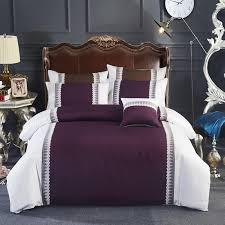 4 100 cotton grey purple luxury girls bedding set queen king size bed linen sheets set lace duvet quilt covers blue bedding sets king size duvet cover from