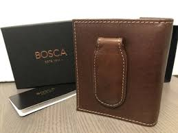 bosca leather bifold deluxe front pocket money clip wallet vermont chestnut