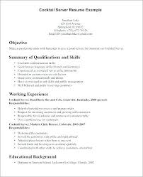 Resume For A Bartender Extraordinary Bartender Resume Objective Examples Server For Position Objectives