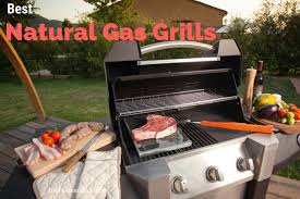 outside gas grill with lid open and food being displayed