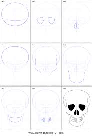 how to draw skull easy printable step by step drawing sheet drawingtutorials101
