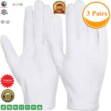 3 Pairs Large Size,White <b>Cotton Gloves</b> for Dry Hand Moisturizing ...