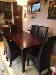 dark mahogany furniture. Solid Wood Dark Mahogany Extending Dining Table With Four Leather Chairs Furniture S