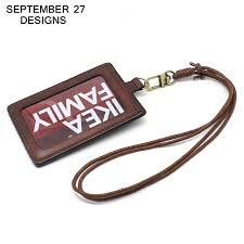 badge holder top layer leather retractable lanyard identity name student card case credit bank neck strap card bus id holders card holder business handbags