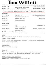Resumes Acting Resume My Hollywood Star Page Theater Template