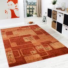 Orange Rugs For Living Room Rug Living Room Rug Retro Pattern Flecked In Terracotta Orange
