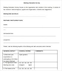 Meeting Survey Template Meeting Survey Templates 10 Free Word Excel Pdf Documents