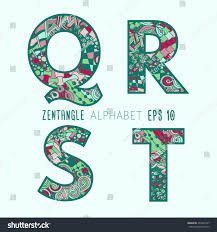 Vector set of zentangle letters. Doodle colorful alphabet on plain  background. Green, pink