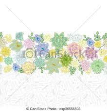 Small Picture Vector Clipart of Succulent garden border card design Horizontal