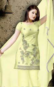Arkandi Suit Designs Yellow Arkandi Cotton Designer Salwar Kameez