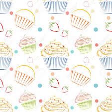 Elegant Vector Seamless Pattern With Different Cupcakes Unique