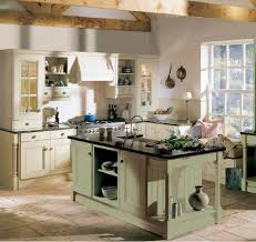 Kitchen:Farmhouse French Kitchen Style With Exposed Wood Beam Ceiling Above  Rustic Island Farmhouse French