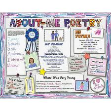 Ready-To-Decorate About Me Poetry Pin-Board Posters