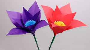 Make Easy Paper Flower Paper Flowers How To Make Paper Stick Flowers Easy Flowers Making Ideas Jarines Crafty Creation