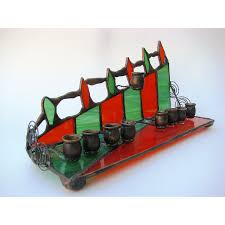 simplicity stained glass menorah candle holder toronto ontario canada