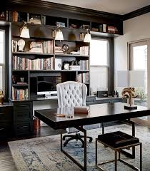 masculine office. Ivory Walls Lined With Black Crown Molding Beautifully Complement This Contemporary Home Office Boasting A Masculine