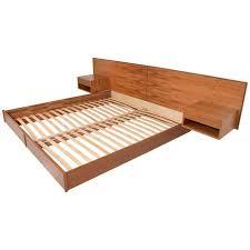 Custom Modern Oak King Size Platform Bed with Floating Nightstands