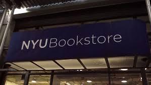 NEW YORK DEC 25 2015 NYU Bookstore Main Entrance Sign Tilting