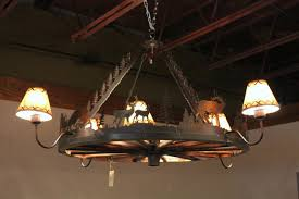 image of wagon wheel chandelier antique
