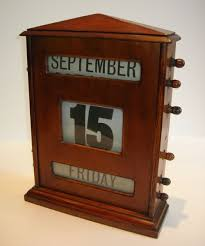 grand oversized antique english wooden desktop perpetual calendar c1910