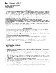 Mining Safety Manager Sample Resume Unique Berdian Van Wyk Resume HSE Manager V44