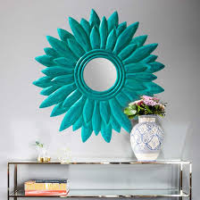unbelievable design turquoise wall mirror home decoration ideas sunflower frame decorative frames decor india modern framed