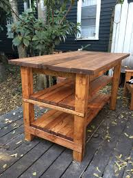 Rustic Kitchen Island Cart Furniture Ideas Simple Carpenter Made Rectangular Open Shelving