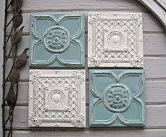 tin ceiling tile set of 4 12 x 12 framed tiles antique tins circa 1900 framed and ready to hang aqua off white wall art  on vintage ceiling tile wall art with vintage ceiling tin tile framed 24 metal tile antique
