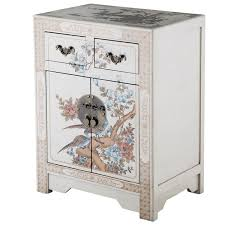 furniture motifs. Handmade NES White Nature Motifs Oriental End Table (China) Furniture X