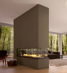 interiors living room with brown bio ethanol glass fireplace as room divider also wegner plywood modern