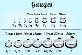 Plug Gauge Size Chart Earring Gauges Sizes 10 Sizes Ear Tunnel Clear Silicone Mold