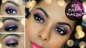 new years eve party makeup full face glamour glitter purple smokey eyes dark indian skin you