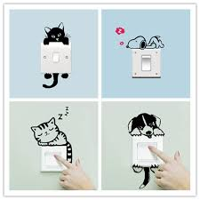<b>DIY Funny Cute</b> Sleeping Cat <b>Dog</b> Switch Stickers Wall Stickers ...