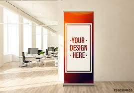 Office Banner Template Roll Up Banner Mockup In Office Buy This Stock Template And