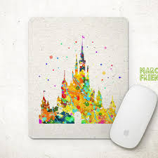 disney office decor. disney mouse pad castles watercolor art mousepad office decor gift f