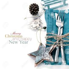 Christmas Table Place Setting With Christmas Decorations With