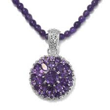 lusaka amethyst platinum over sterling silver pendant with beads necklace 20 in tgw 302 15 cts lc