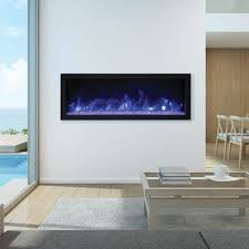 45 wide and extra slim indoor or outdoor built in only electric fireplace with black steel surround