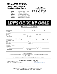 Free Golf Tournament Registration Form Template Charity