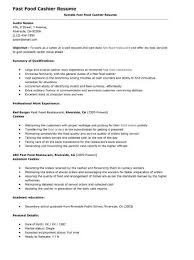 Fast Food Resume Inspiration Fast Food Cashier Resume Httptopresumefastfoodcashier