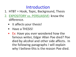 edgar allan poe s death persuasive essay feedback ppt introduction htbt hook topic background thesis