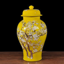 Large Decorative Jars China Temple Jar Bird And Flower Large Ceramic Jars Lid Plum 90