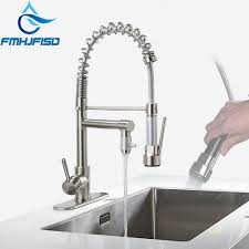 Brushed Nickel Chrome Kitchen Faucet Double Sprayer Vessel Sink Mixer Tap Deck Mounted Single Hole Faucet