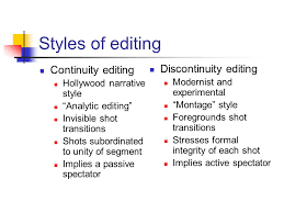 Styles Of Editing Discontinuity Editing Continuity Editing