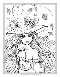 Free Witch And Cat Coloring Page
