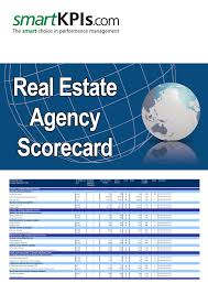 Real Estate Agency Scorecard Pre Populated Excel Template
