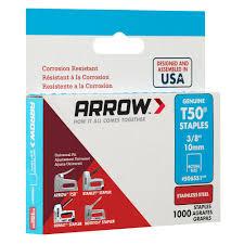 Arrow Staple Size Chart Arrow Fastener T50 3 8 In Crown 16 Gauge Stainless Steel Staples 1000 Pack