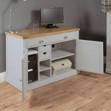 bedford grey painted oak furniture hideaway office pc computer desk bedford grey painted oak furniture hideaway office