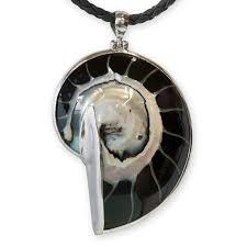 black nautilus shell pendant 925 silver picture 1